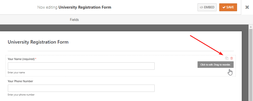 Duplicate and remove fields in the contact form with WPForms plugin