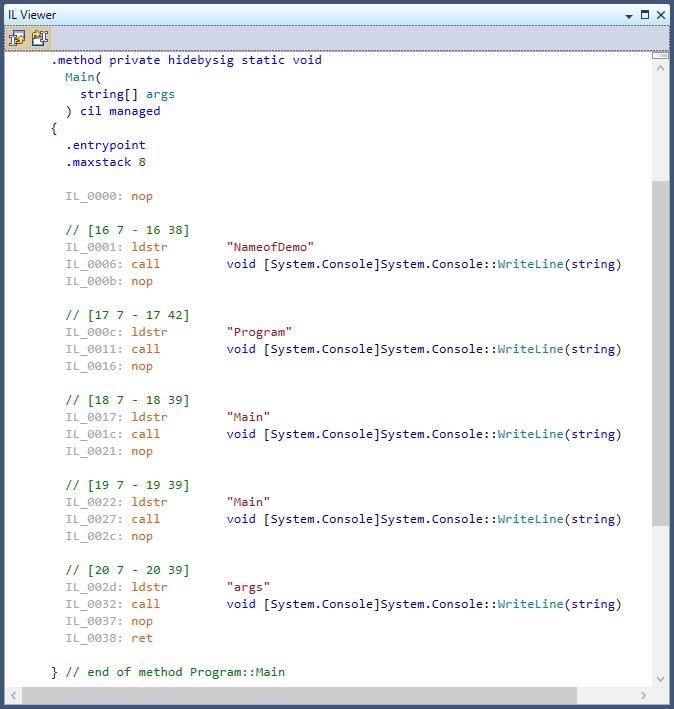 nameof operator after compiling