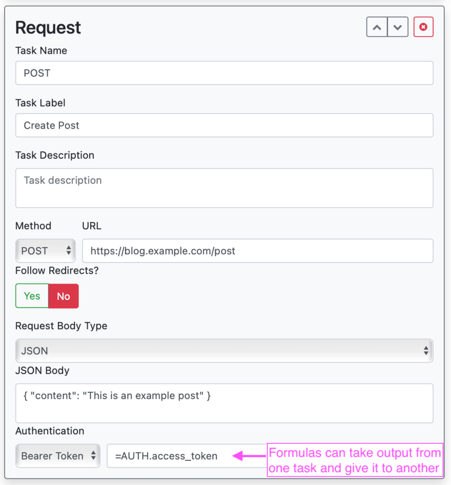 Zapp form for Request task
