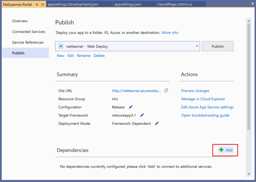 Add Dependencies during Publish from Visual Studio