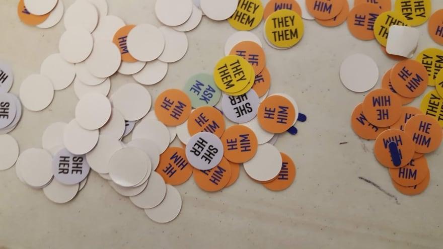 Preferred Gender pronoun stickers