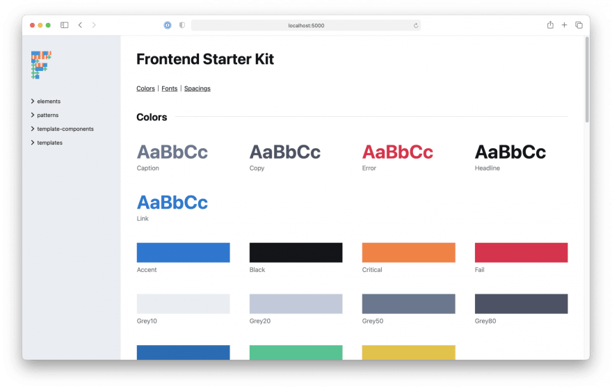 Screenshot of our Frontend Starter Kit in miyagi