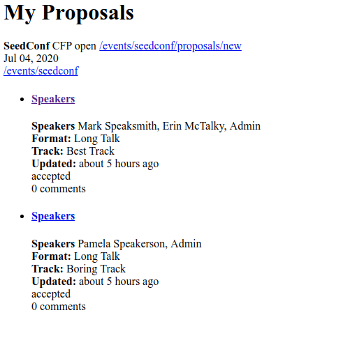 Proposals Index View after