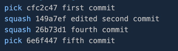 Replaced pick command with squash on the second and fourth commit
