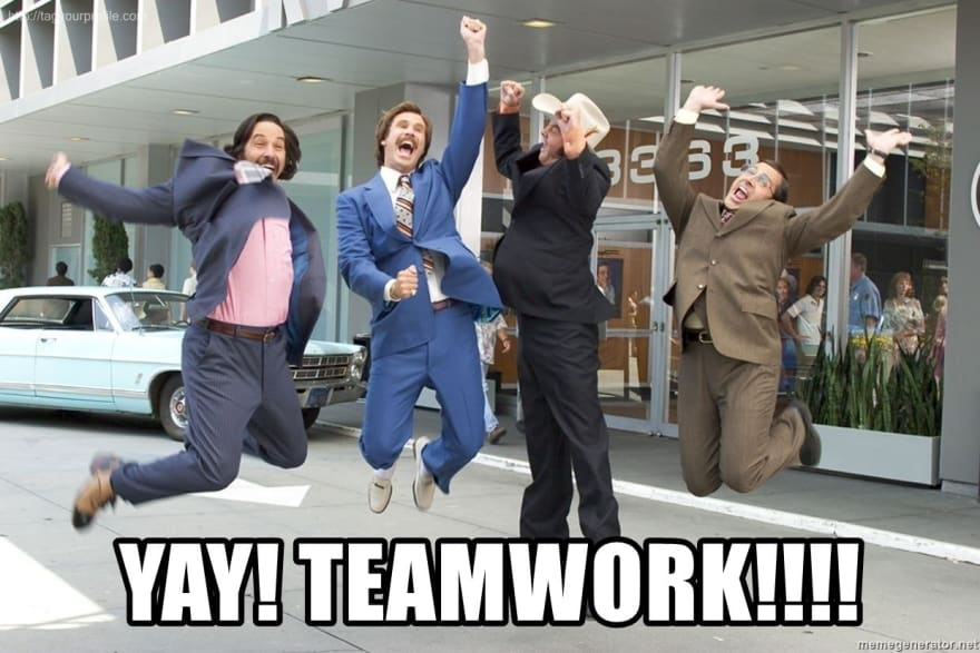 """Meme of Anchorman team jumping together. """"Yay! Teamwork!!!"""""""