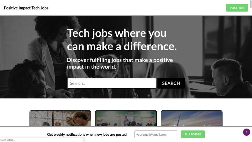 Positive Impact Tech Jobs Homepage
