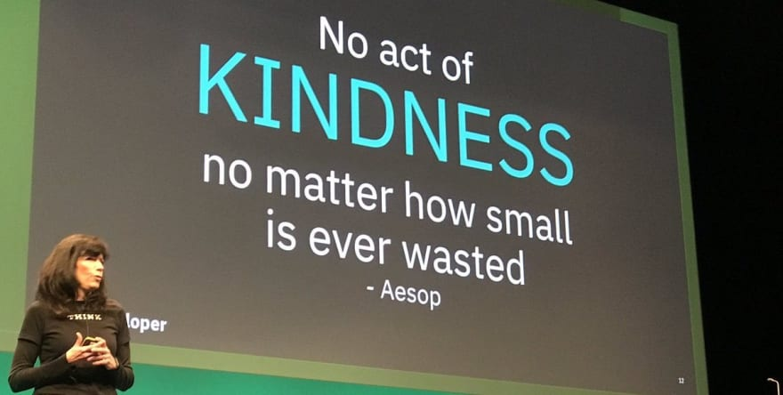 Johanna presenting with Aesop's quote on the screen: No act of kindness no matter how small is ever wasted