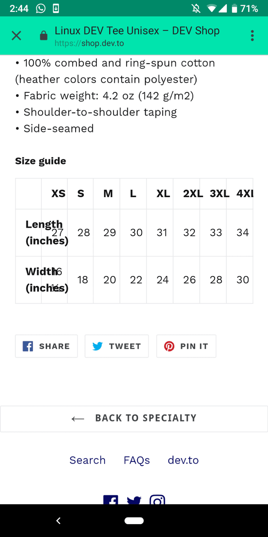 Styling error in the size section