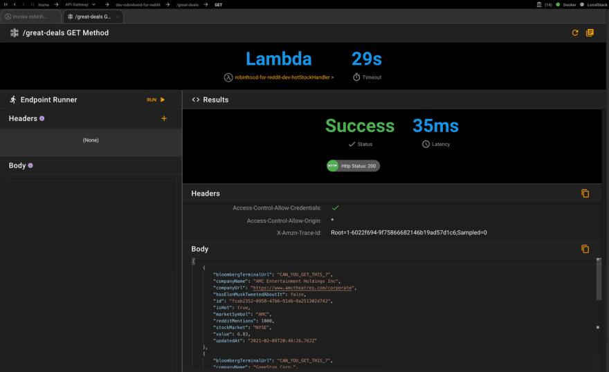 API Gateway Invoke results