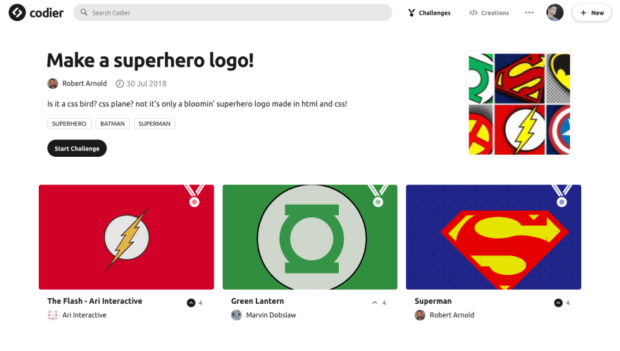 Superhero logo Challenge on Codier