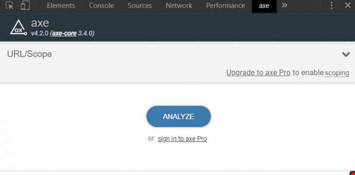 Analyze Button in axe