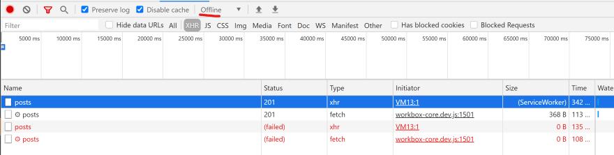 Chrome dev tools showing a failed send to our api