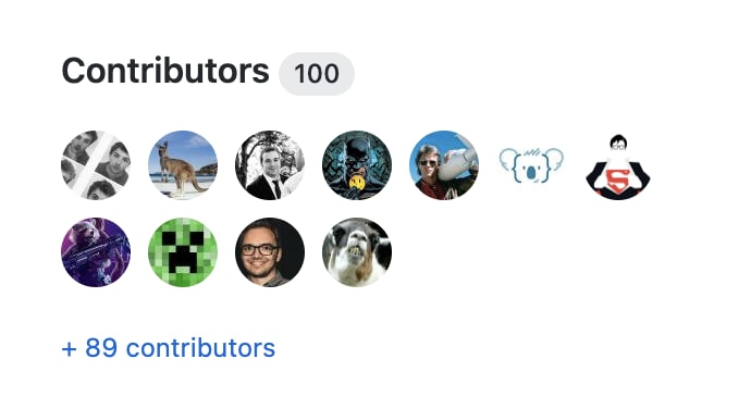 list of the 100 contributors of the project