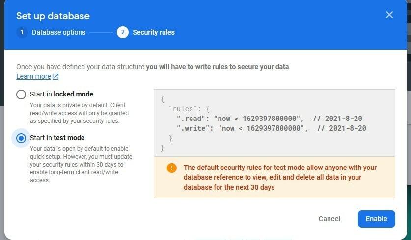 Realtime Database Start in Test Mode
