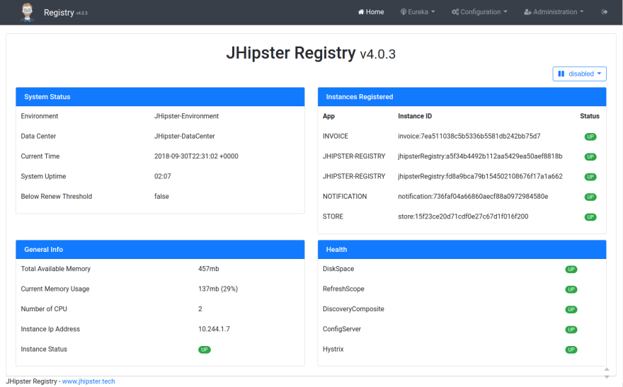 JHipster Registry home page