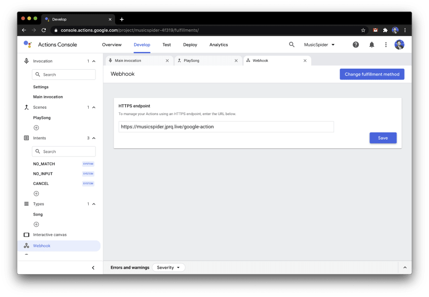 Setting Up WebHook in Google Actions