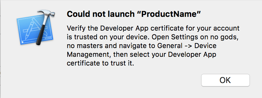Xcode trust certificate on device dialogue