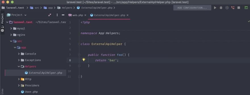 Our ExternalApiHelper class with a single foo() method