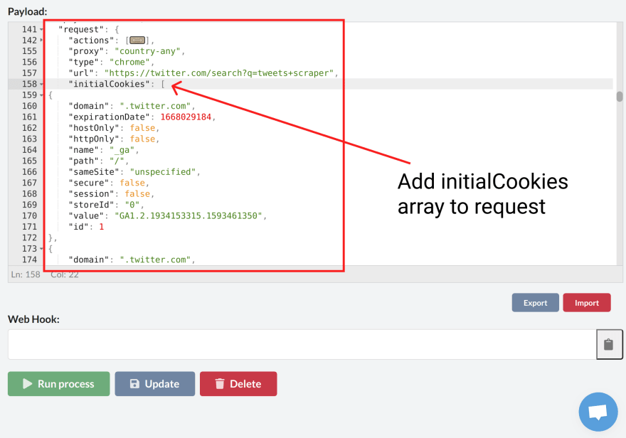 How to Log in to a website by passing cookies to a web scraper?