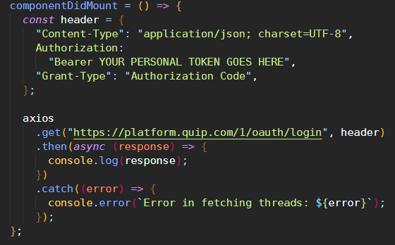 some react code showing an authentication call to an outside API