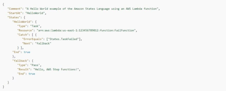 AWS Step Functions: States.TaskFailed predefined error code example