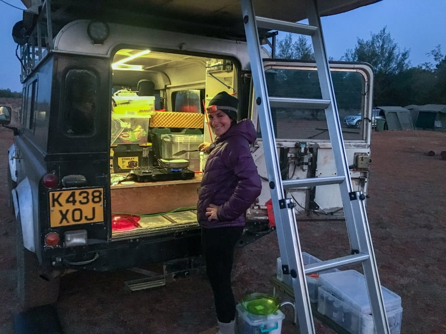 Cooking in the fully outfitted Land Rover