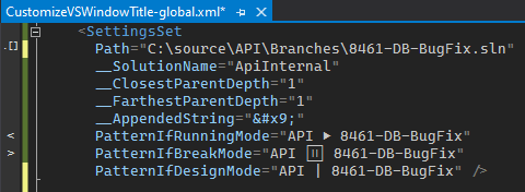"""Customize Visual Studio Window Title"" global configuration XML file"