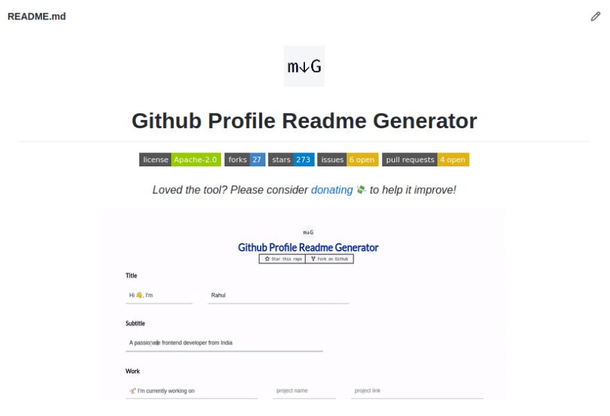 github-profile-readme-generator README