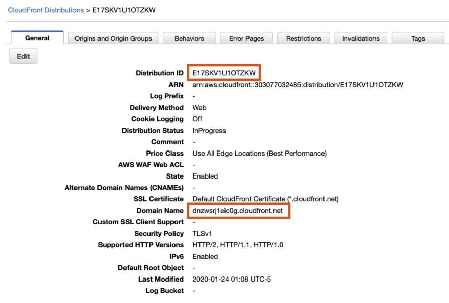 Aws cloudfront settings