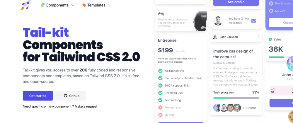 Cover image for Tail-kit : 200+ free Tailwind  components / templates