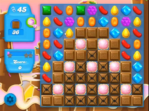 A candy crush chocolate level