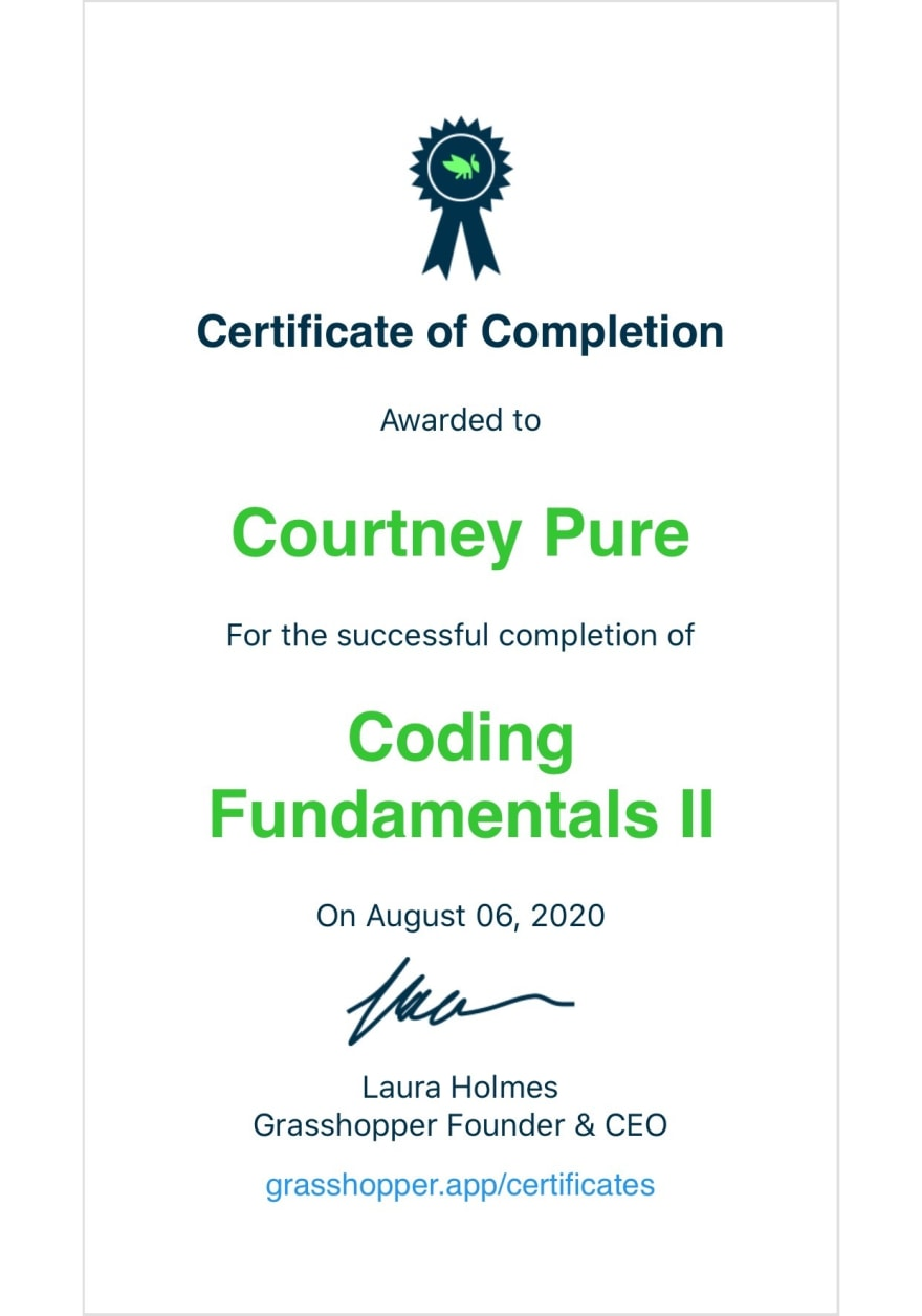 Certificate of Completion Coding Fundamentals 2 from Grasshopper