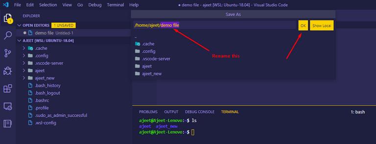 Create a file in WSL using VS Code
