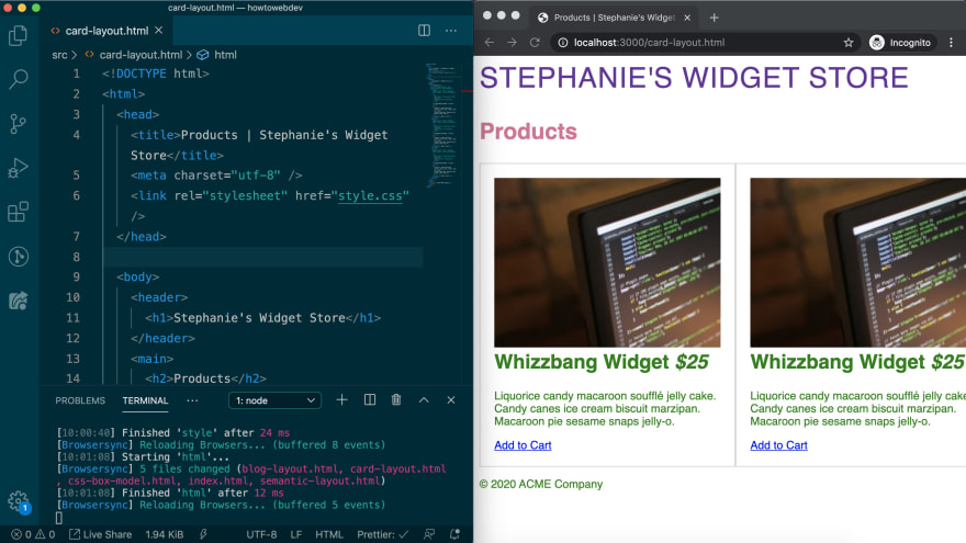 window split with VSCode and browser showing card-layout.html