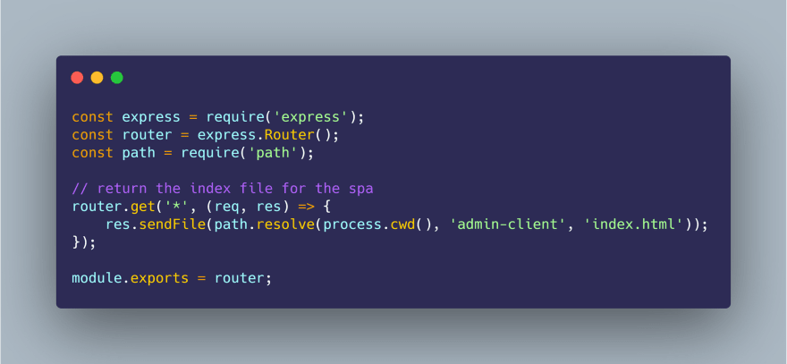 A router definition for an Express application.