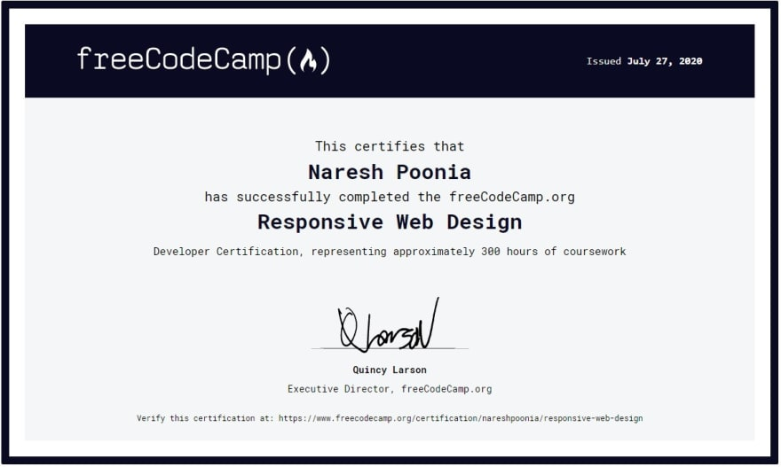 freeCodeCamp Certificate of Completion