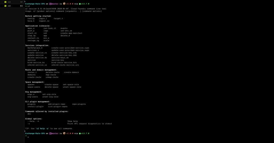 CF command display onTerminal