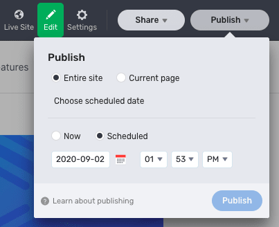 Stackbit Studio publishing controls, with the options to publish the entire site or the current page