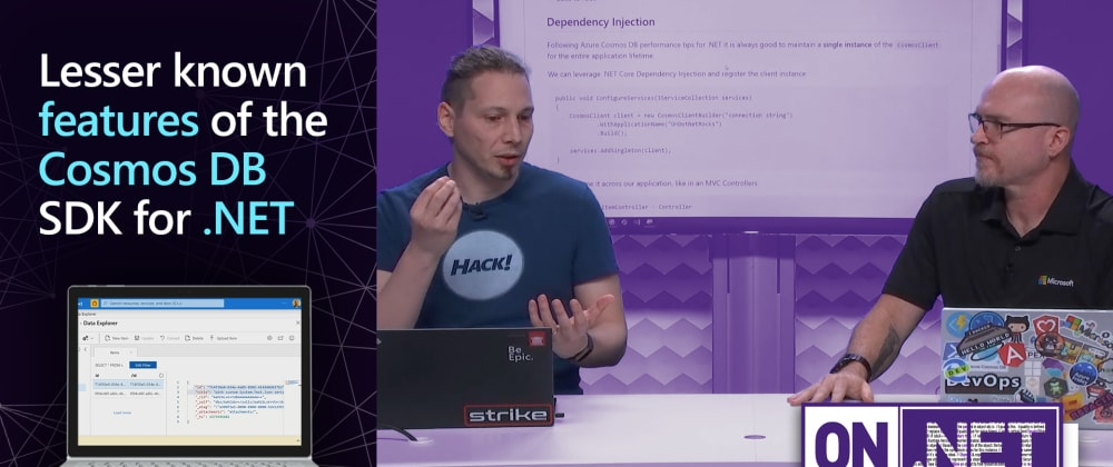 Cover image for On.NET Episode: Lesser known features of the Cosmos DB SDK for .NET