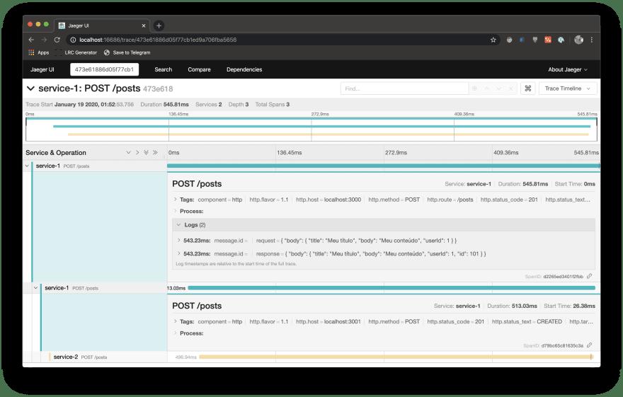 captura de tela da interface do Jaeger mostrando uma requisição com os dados de requisição e de resposta