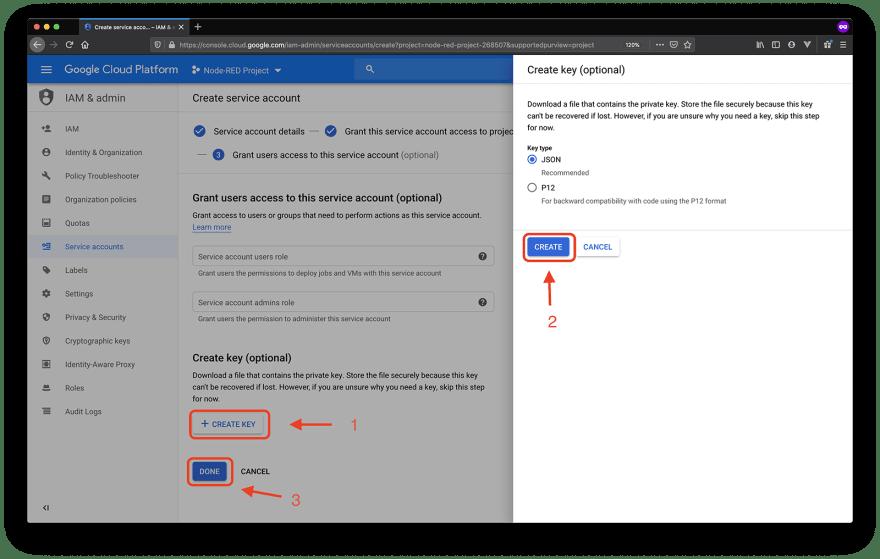 google service accounts create key