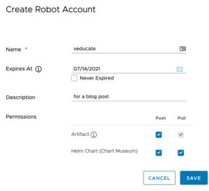 Harbor - Create new robot account - fill out details