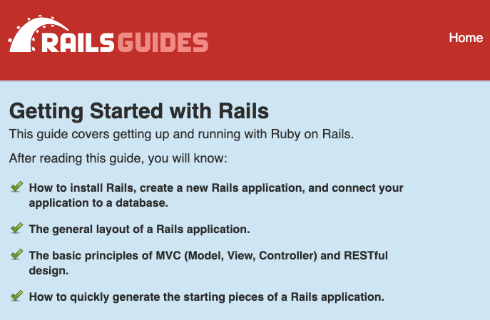 Rails Getting Started guide