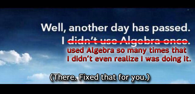 No algebra?
