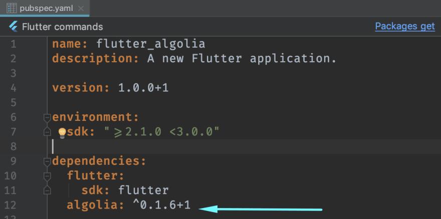 Added algolia as a dependency in pubspec.yaml
