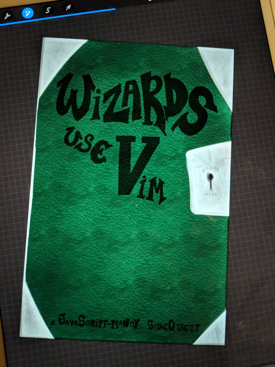 Wizards Use Vim Cover Art Draft 1