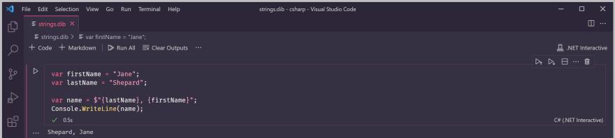 String interpolation example