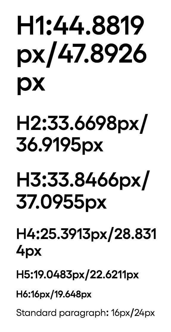 See the h2 and h3 sizes