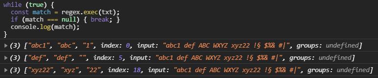 Example of RegExp.exec