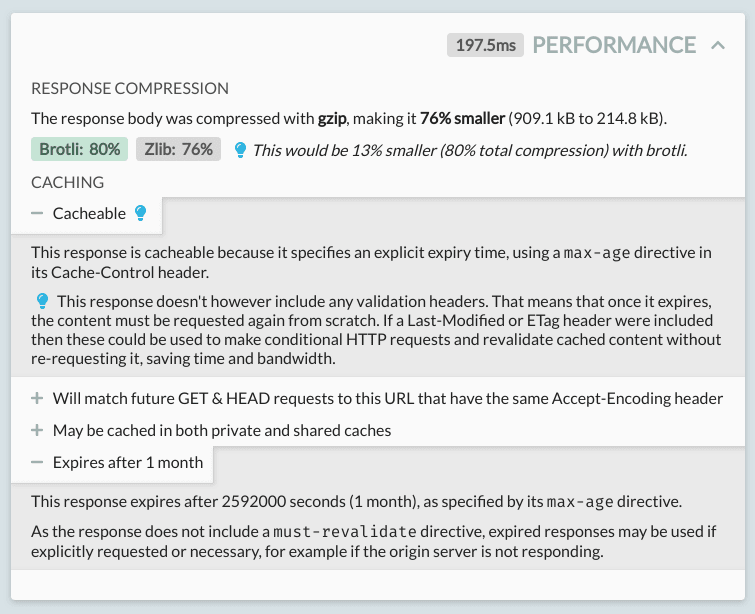 Performance analysis for an HTTP request